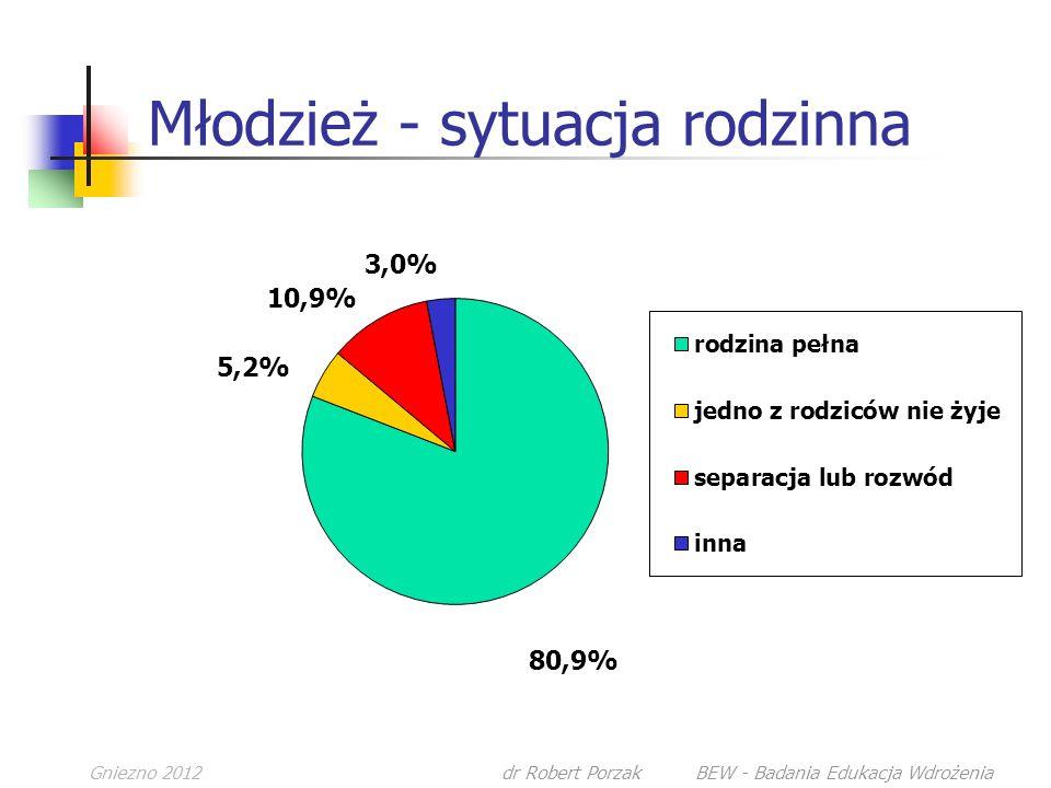 Gniezno 2012dr Robert Porzak BEW - Badania Edukacja Wdrożenia Młodzież - sytuacja rodzinna