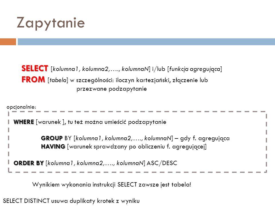 Zapytanie SELECT SELECT [kolumna1, kolumna2,…., kolumnaN] i/lub [funkcja agregująca] FROM FROM [tabela] w szczególności: iloczyn kartezjański, złączen
