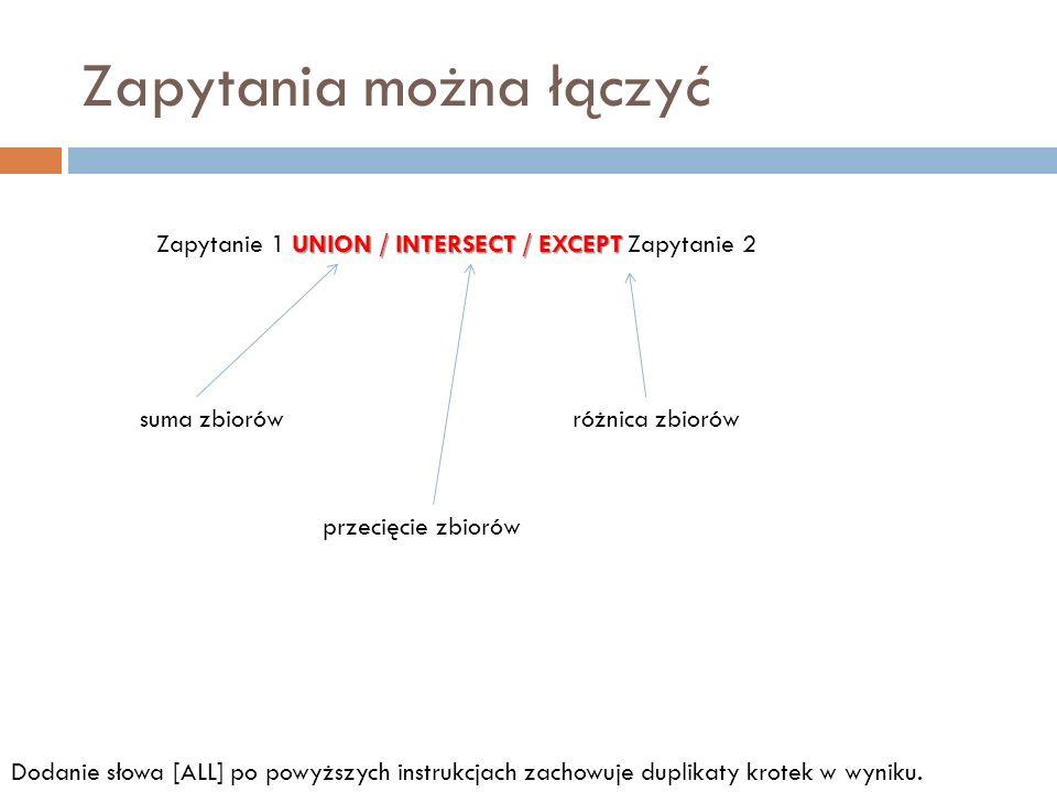 Zapytania można łączyć UNION / INTERSECT / EXCEPT Zapytanie 1 UNION / INTERSECT / EXCEPT Zapytanie 2 suma zbiorów przecięcie zbiorów różnica zbiorów D