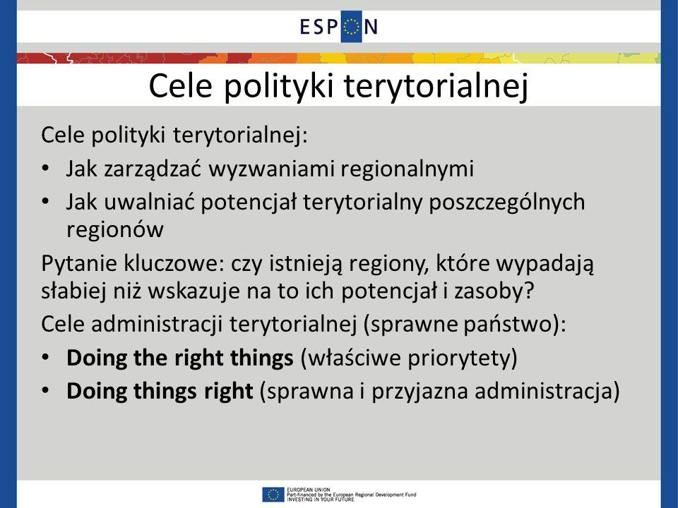 Cele polityki terytorialnej Cele polityki terytorialnej: Jak zarządzać wyzwaniami regionalnymi Jak uwalniać potencjał terytorialny poszczególnych regionów Pytanie kluczowe: czy istnieją regiony, które wypadają słabiej niż wskazuje na to ich potencjał i zasoby.