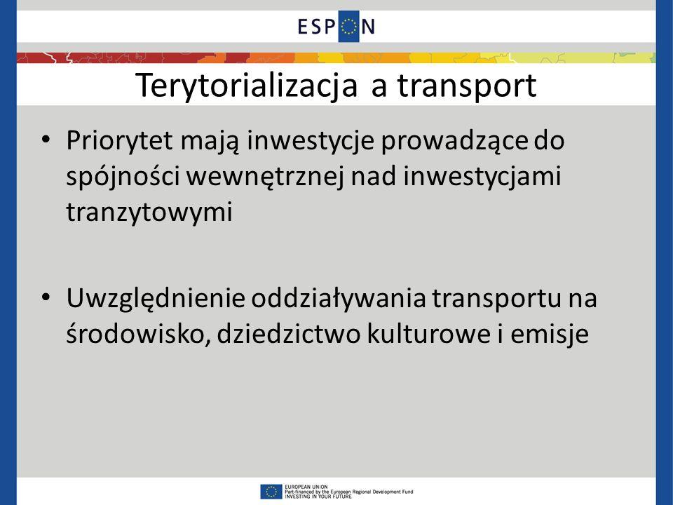 Terytorializacja a transport Priorytet mają inwestycje prowadzące do spójności wewnętrznej nad inwestycjami tranzytowymi Uwzględnienie oddziaływania transportu na środowisko, dziedzictwo kulturowe i emisje