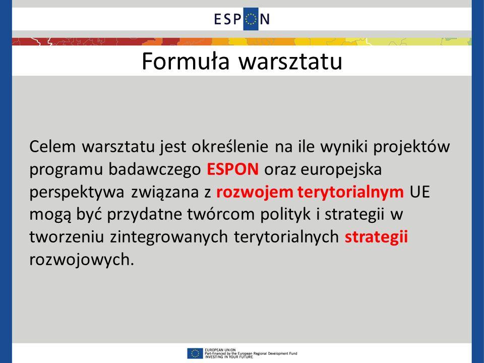 Formuła warsztatu Celem warsztatu jest określenie na ile wyniki projektów programu badawczego ESPON oraz europejska perspektywa związana z rozwojem terytorialnym UE mogą być przydatne twórcom polityk i strategii w tworzeniu zintegrowanych terytorialnych strategii rozwojowych.