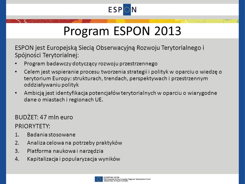 Program ESPON 2013 ESPON jest Europejską Siecią Obserwacyjną Rozwoju Terytorialnego i Spójności Terytorialnej: Program badawczy dotyczący rozwoju przestrzennego Celem jest wspieranie procesu tworzenia strategii i polityk w oparciu o wiedzę o terytorium Europy: strukturach, trendach, perspektywach i przestrzennym oddziaływaniu polityk Ambicją jest identyfikacja potencjałów terytorialnych w oparciu o wiarygodne dane o miastach i regionach UE.