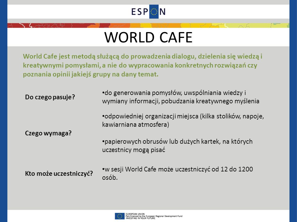 WORLD CAFE Do czego pasuje.