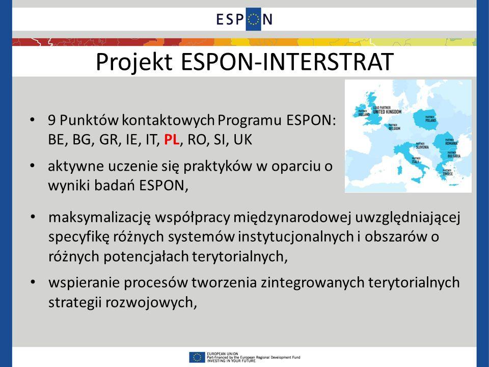 Projekt ESPON-INTERSTRAT 9 Punktów kontaktowych Programu ESPON: BE, BG, GR, IE, IT, PL, RO, SI, UK aktywne uczenie się praktyków w oparciu o wyniki badań ESPON, maksymalizację współpracy międzynarodowej uwzględniającej specyfikę różnych systemów instytucjonalnych i obszarów o różnych potencjałach terytorialnych, wspieranie procesów tworzenia zintegrowanych terytorialnych strategii rozwojowych,