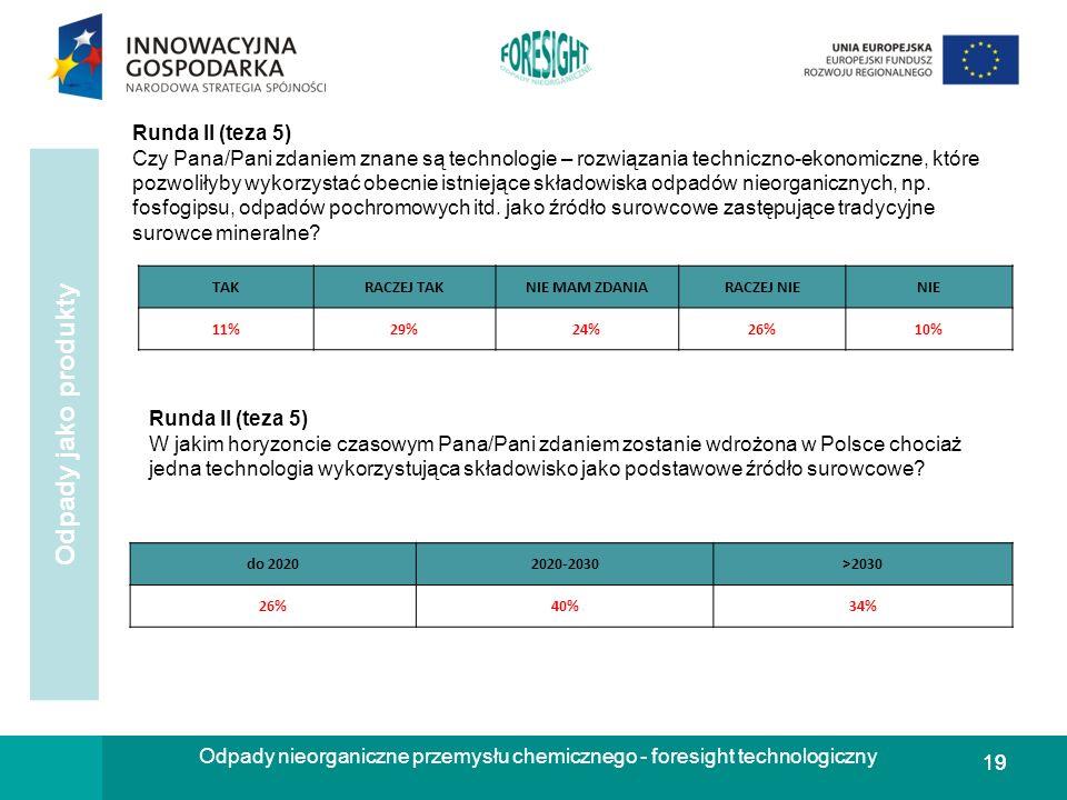 19 Odpady nieorganiczne przemysłu chemicznego - foresight technologiczny Odpady jako produkty Runda II (teza 5) W jakim horyzoncie czasowym Pana/Pani