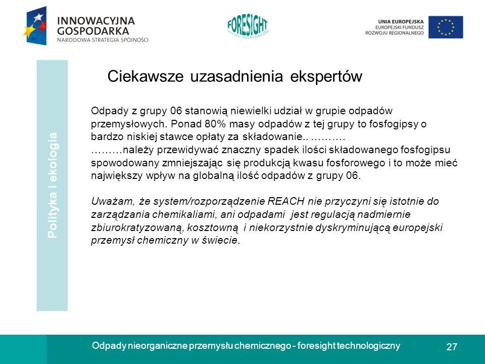 27 Odpady nieorganiczne przemysłu chemicznego - foresight technologiczny Polityka i ekologia Odpady z grupy 06 stanowią niewielki udział w grupie odpa
