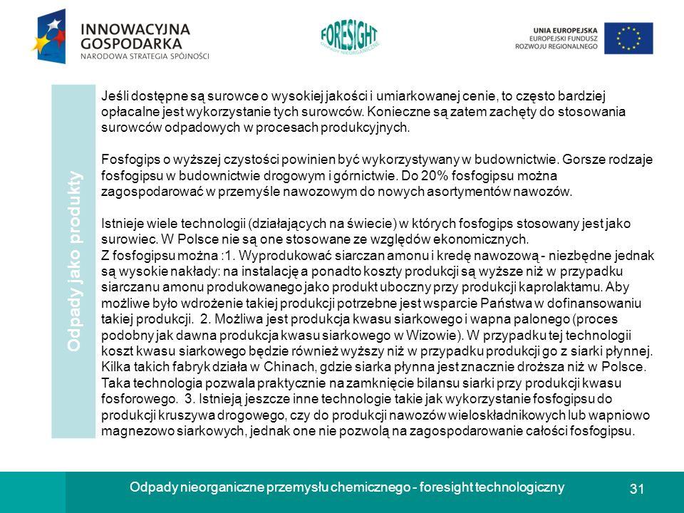 31 Odpady nieorganiczne przemysłu chemicznego - foresight technologiczny Odpady jako produkty Jeśli dostępne są surowce o wysokiej jakości i umiarkowa