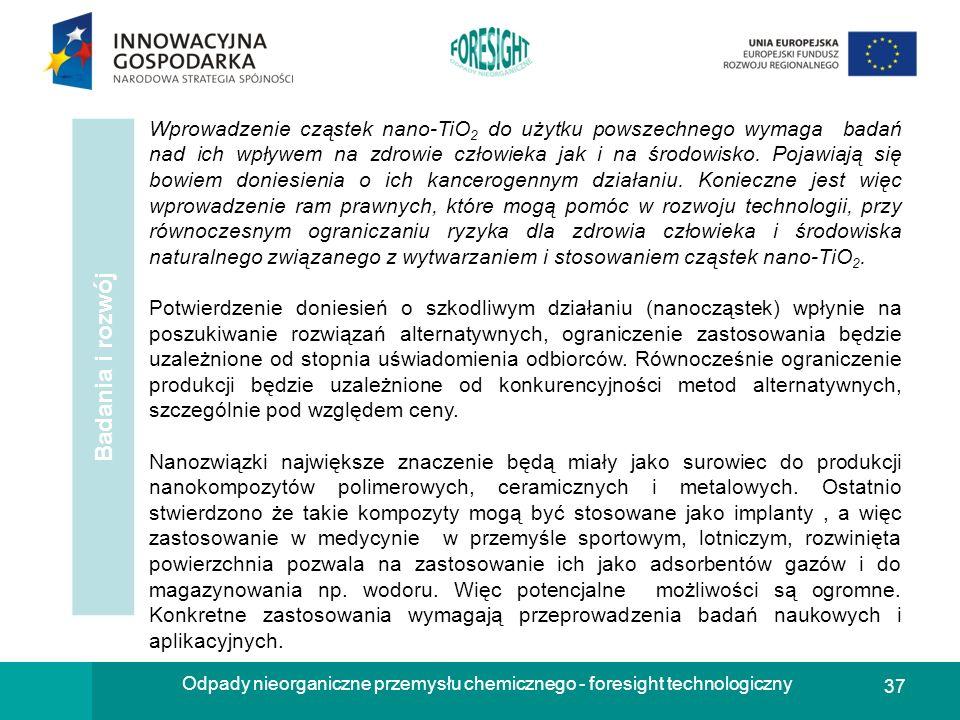 37 Odpady nieorganiczne przemysłu chemicznego - foresight technologiczny Badania i rozwój. Wprowadzenie cząstek nano-TiO 2 do użytku powszechnego wyma