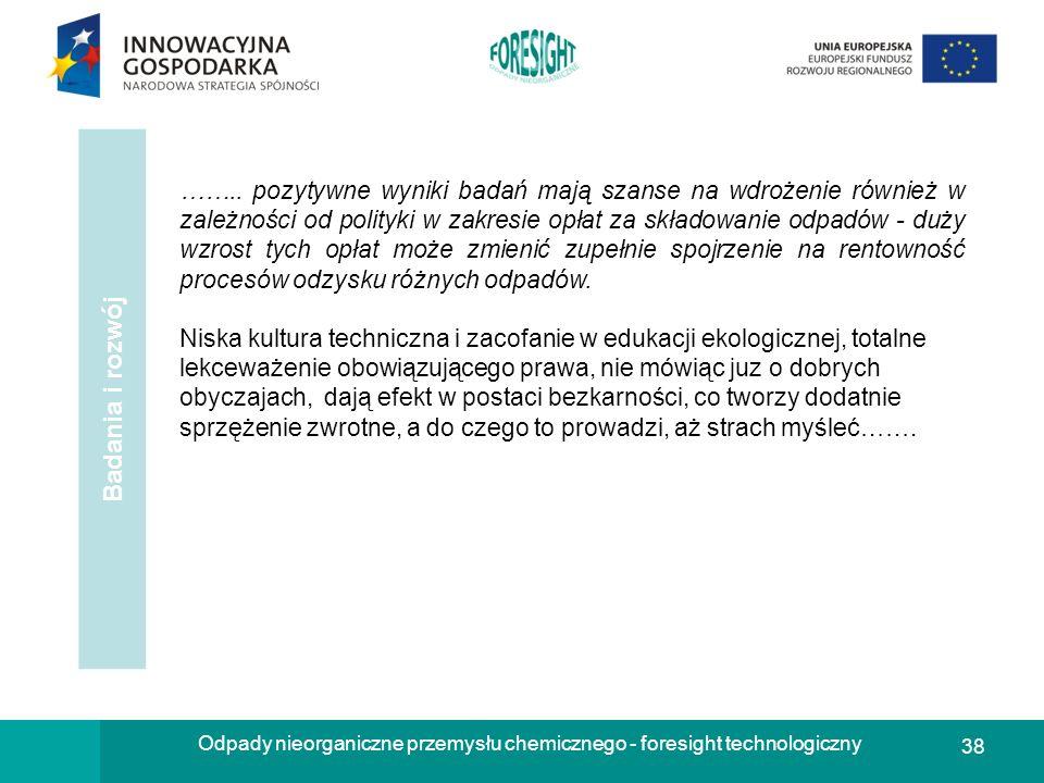 38 Odpady nieorganiczne przemysłu chemicznego - foresight technologiczny Badania i rozwój …….. pozytywne wyniki badań mają szanse na wdrożenie również