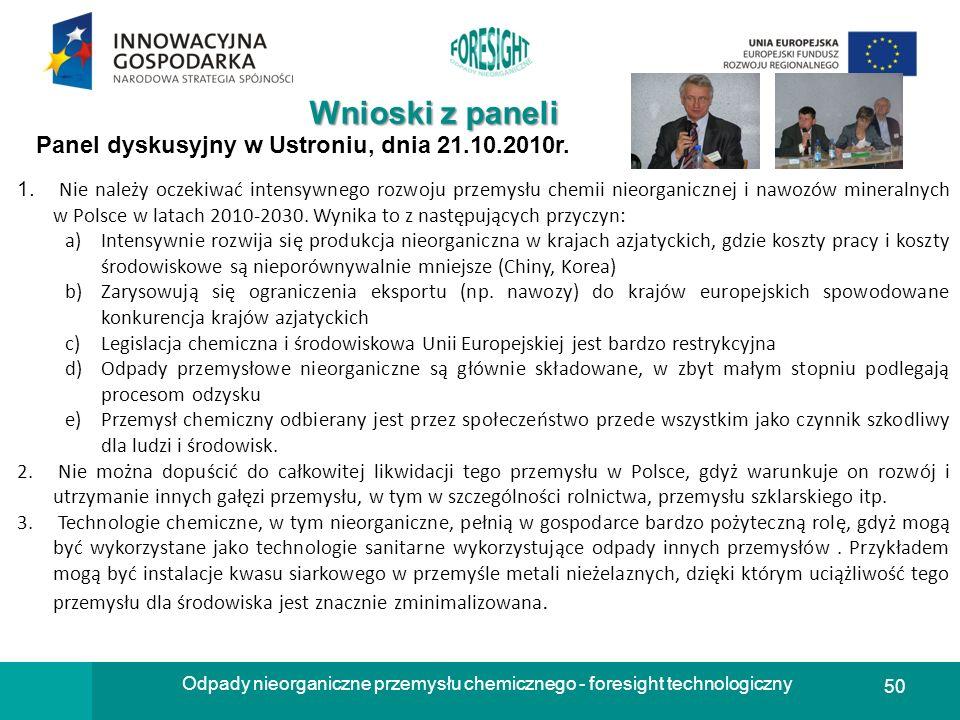 50 Odpady nieorganiczne przemysłu chemicznego - foresight technologiczny Wnioski z paneli Panel dyskusyjny w Ustroniu, dnia 21.10.2010r. 1. Nie należy