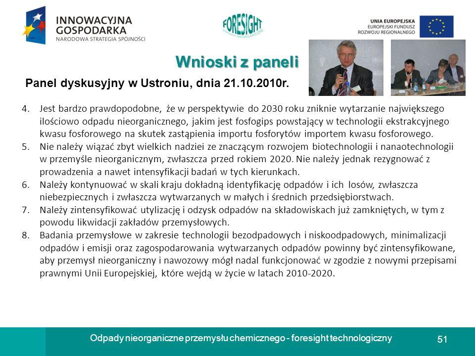 51 Odpady nieorganiczne przemysłu chemicznego - foresight technologiczny Wnioski z paneli Panel dyskusyjny w Ustroniu, dnia 21.10.2010r. 4.Jest bardzo