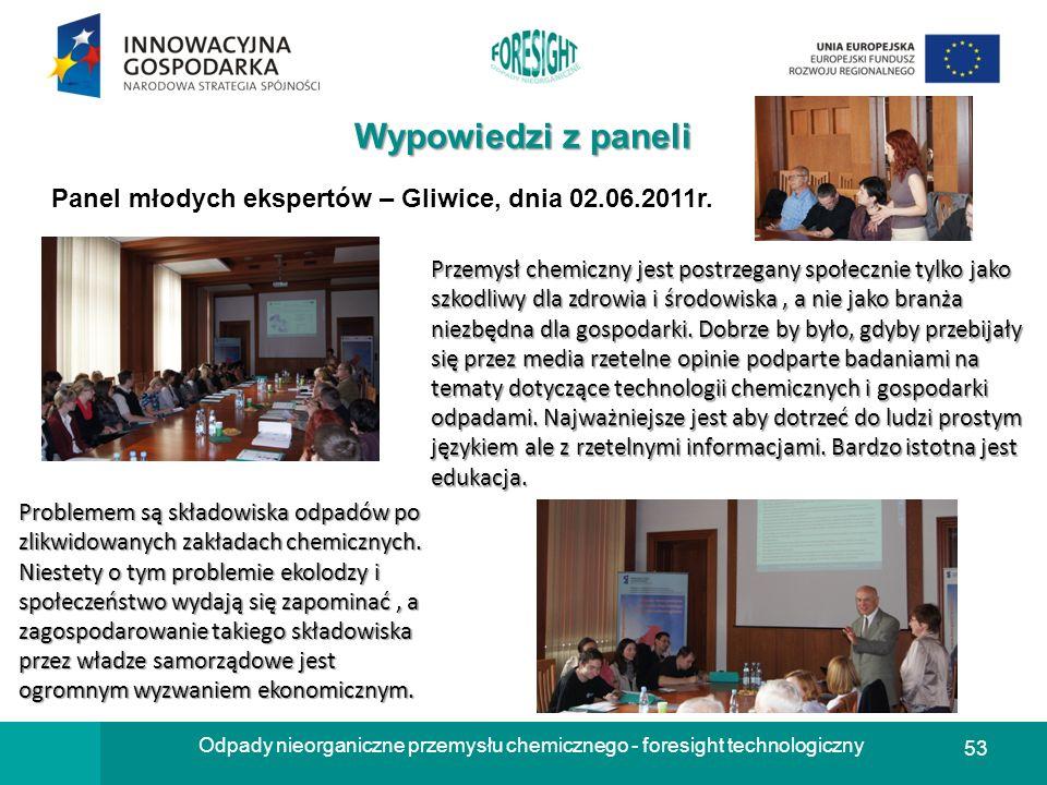 53 Odpady nieorganiczne przemysłu chemicznego - foresight technologiczny Wypowiedzi z paneli Panel młodych ekspertów – Gliwice, dnia 02.06.2011r. Prze