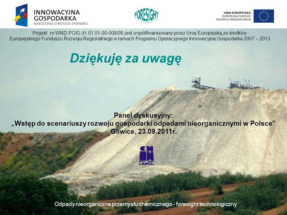 Odpady nieorganiczne przemysłu chemicznego - foresight technologiczny Dziękuję za uwagę Projekt nr WND-POIG 01.01.01-00-009/09 jest współfinansowany p