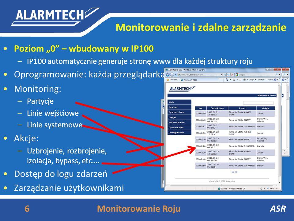 Monitorowanie i zdalne zarządzanie 6Monitorowanie RojuASR Poziom 0 – wbudowany w IP100 –IP100 automatycznie generuje stronę www dla każdej struktury roju Oprogramowanie: każda przeglądarka Monitoring: –Partycje –Linie wejściowe –Linie systemowe Akcje: –Uzbrojenie, rozbrojenie, izolacja, bypass, etc….
