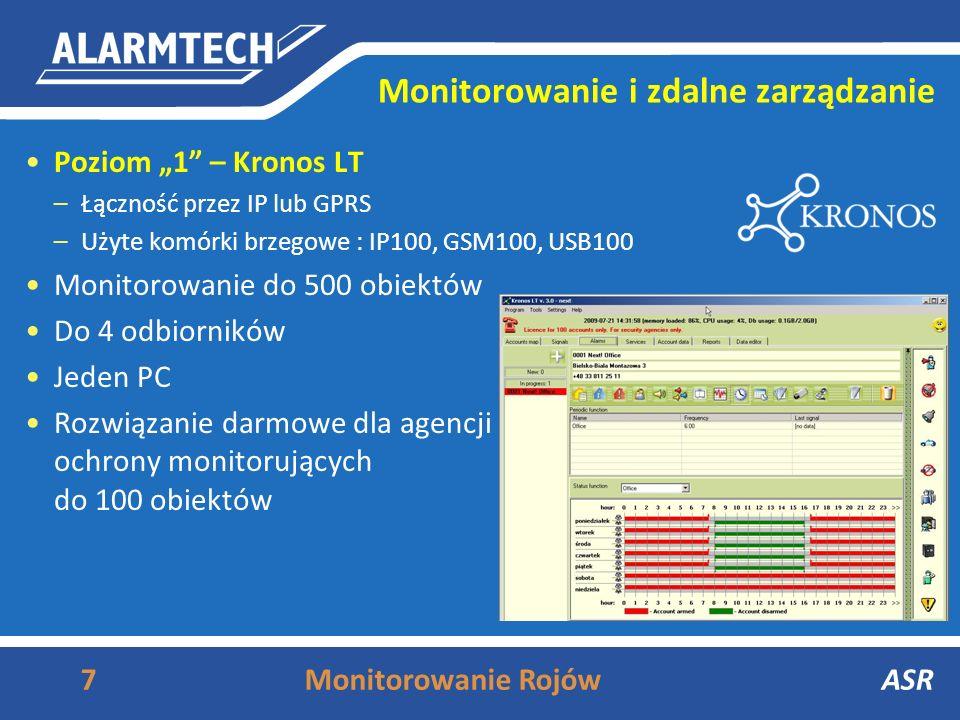 Monitorowanie i zdalne zarządzanie Poziom 1 – Kronos LT –Łączność przez IP lub GPRS –Użyte komórki brzegowe : IP100, GSM100, USB100 Monitorowanie do 500 obiektów Do 4 odbiorników Jeden PC Rozwiązanie darmowe dla agencji ochrony monitorujących do 100 obiektów 7Monitorowanie RojówASRASR