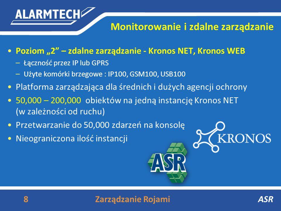 Monitorowanie i zdalne zarządzanie Poziom 2 – zdalne zarządzanie - Kronos NET, Kronos WEB –Łączność przez IP lub GPRS –Użyte komórki brzegowe : IP100, GSM100, USB100 Platforma zarządzająca dla średnich i dużych agencji ochrony 50,000 – 200,000 obiektów na jedną instancję Kronos NET (w zależności od ruchu) Przetwarzanie do 50,000 zdarzeń na konsolę Nieograniczona ilość instancji 8Zarządzanie RojamiASR