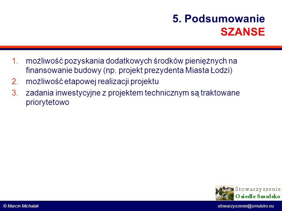 © Marcin Michalak stowarzyszenie@smulsko.eu 5. Podsumowanie SZANSE 1.możliwość pozyskania dodatkowych środków pieniężnych na finansowanie budowy (np.