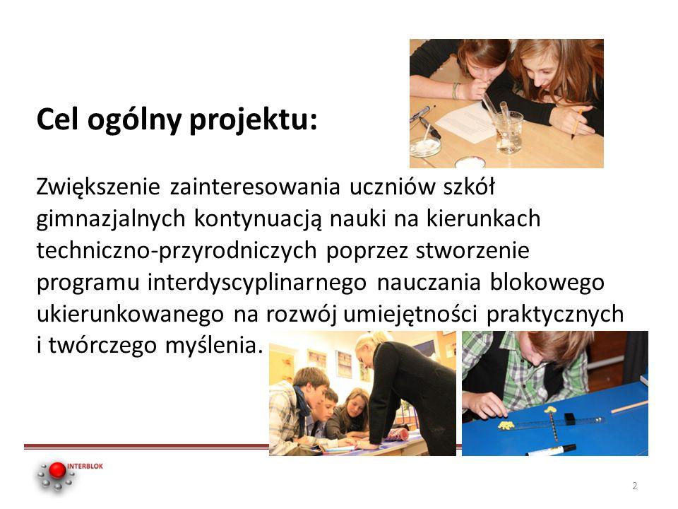 Cel ogólny projektu: Zwiększenie zainteresowania uczniów szkół gimnazjalnych kontynuacją nauki na kierunkach techniczno-przyrodniczych poprzez stworze