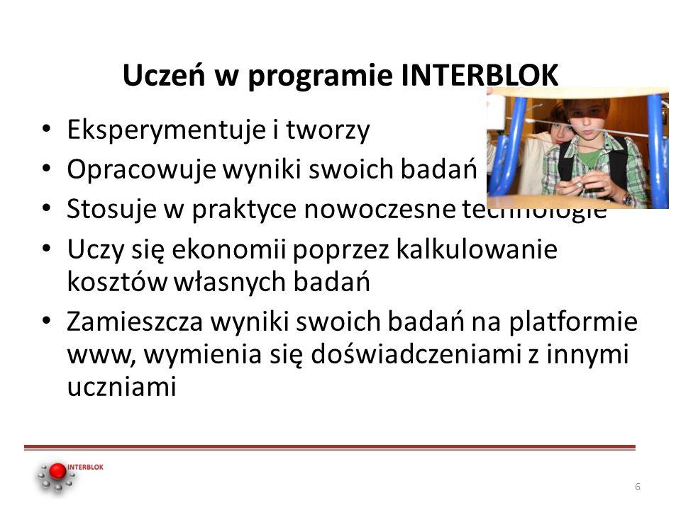 Uczeń w programie INTERBLOK Eksperymentuje i tworzy Opracowuje wyniki swoich badań Stosuje w praktyce nowoczesne technologie Uczy się ekonomii poprzez