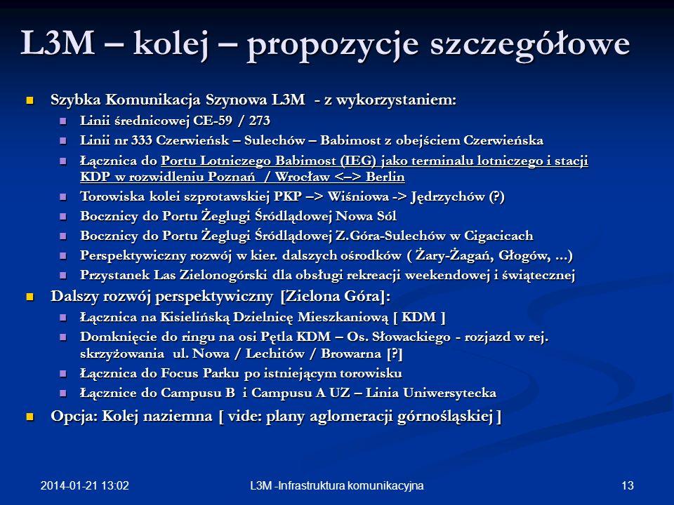 2014-01-21 13:03 13L3M -Infrastruktura komunikacyjna L3M – kolej – propozycje szczegółowe Szybka Komunikacja Szynowa L3M - z wykorzystaniem: Szybka Ko