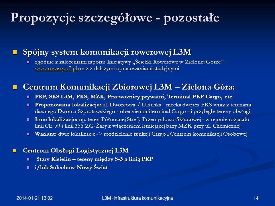2014-01-21 13:03 14L3M -Infrastruktura komunikacyjna Propozycje szczegółowe - pozostałe Spójny system komunikacji rowerowej L3M Spójny system komunika