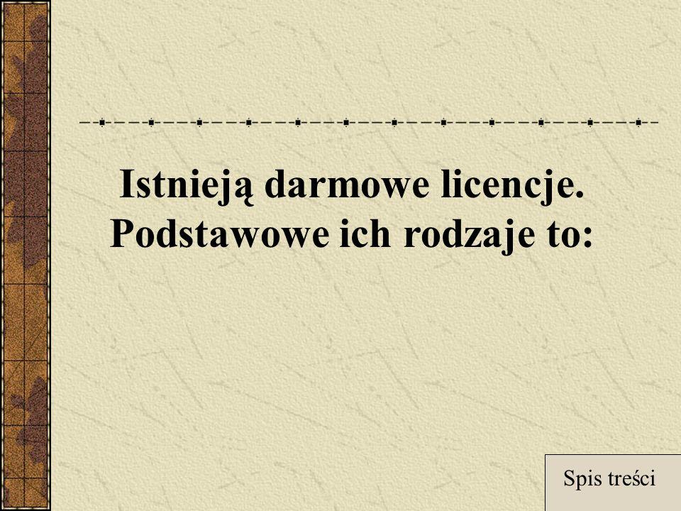 Istnieją darmowe licencje. Podstawowe ich rodzaje to: Spis treści