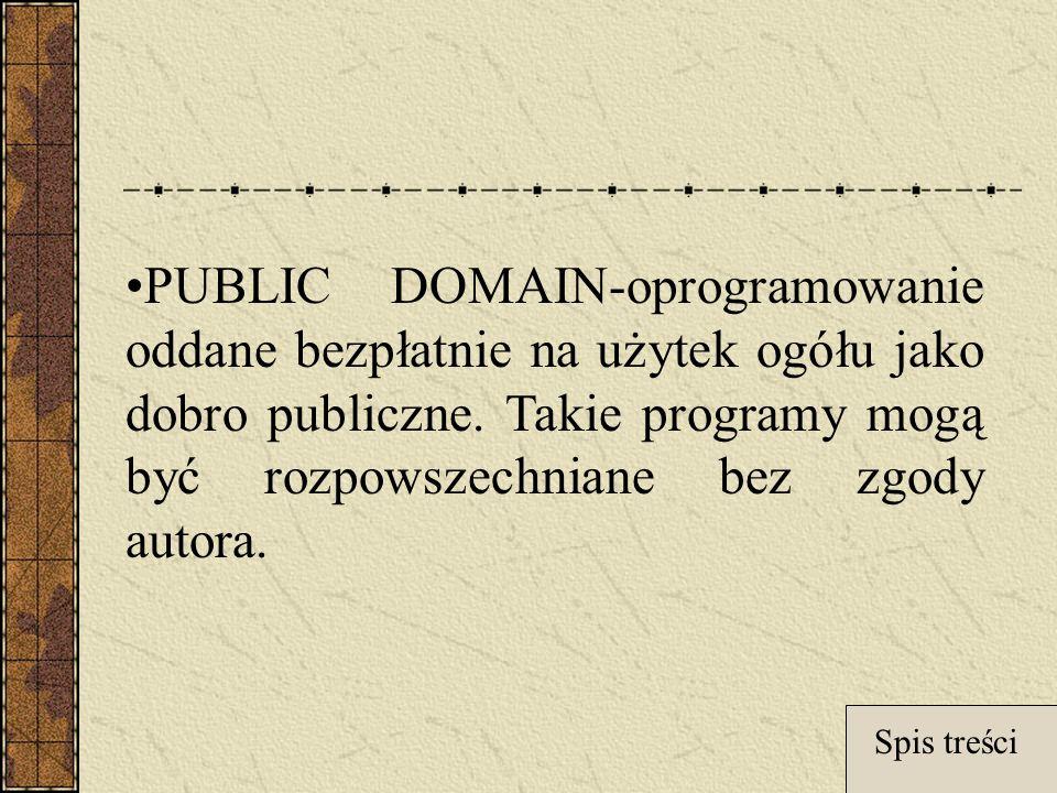 PUBLIC DOMAIN-oprogramowanie oddane bezpłatnie na użytek ogółu jako dobro publiczne.