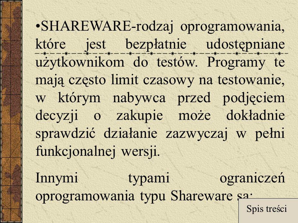 SHAREWARE-rodzaj oprogramowania, które jest bezpłatnie udostępniane użytkownikom do testów.