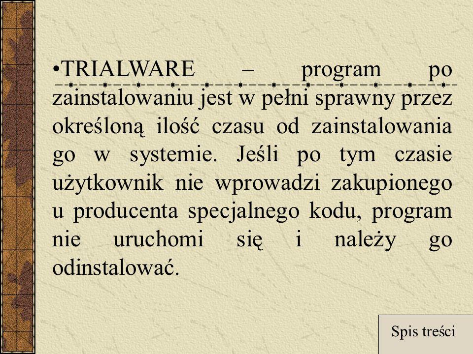 TRIALWARE – program po zainstalowaniu jest w pełni sprawny przez określoną ilość czasu od zainstalowania go w systemie.
