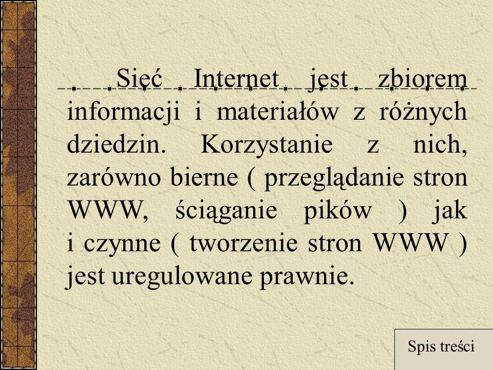 Sieć Internet jest zbiorem informacji i materiałów z różnych dziedzin.
