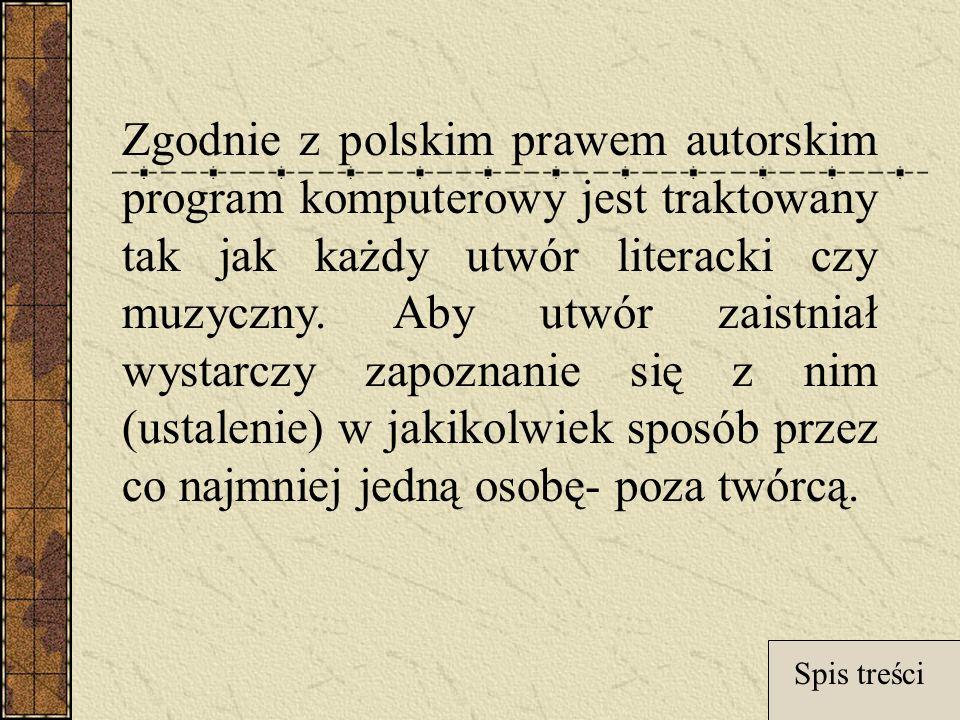 Zgodnie z polskim prawem autorskim program komputerowy jest traktowany tak jak każdy utwór literacki czy muzyczny.