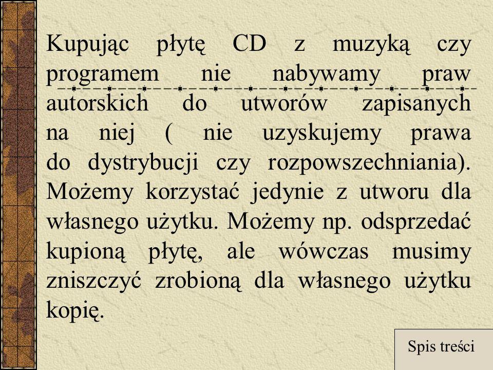 Kupując płytę CD z muzyką czy programem nie nabywamy praw autorskich do utworów zapisanych na niej ( nie uzyskujemy prawa do dystrybucji czy rozpowszechniania).