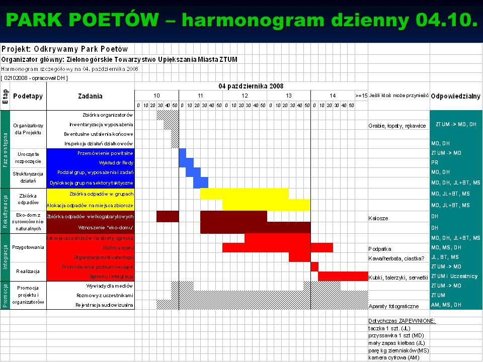 PARK POETÓW – harmonogram dzienny 04.10.