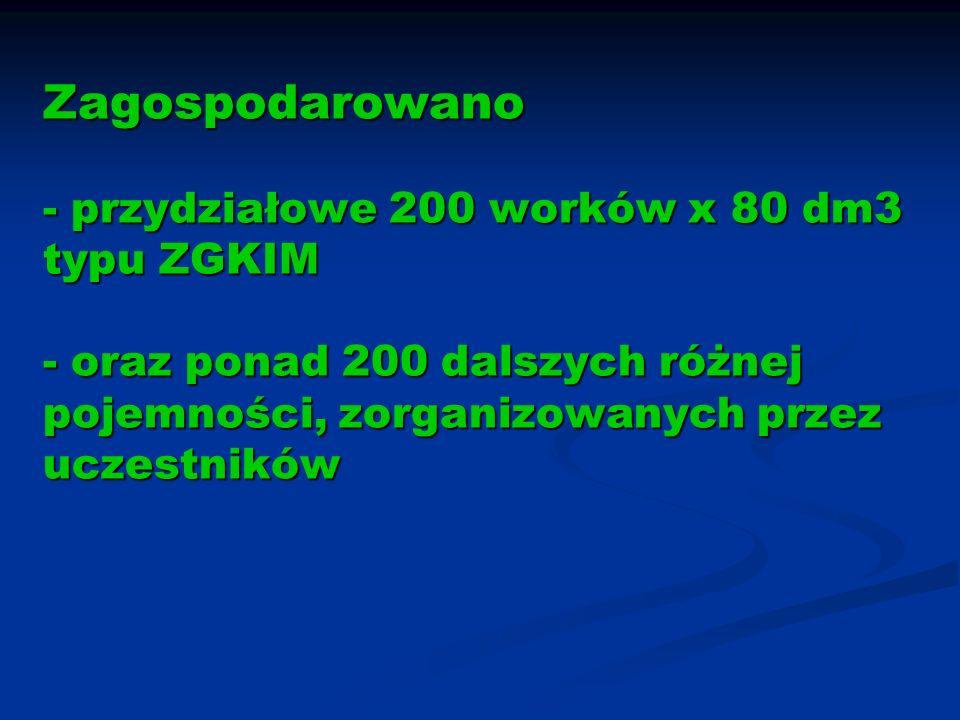 Zagospodarowano - przydziałowe 200 worków x 80 dm3 typu ZGKIM - oraz ponad 200 dalszych różnej pojemności, zorganizowanych przez uczestników