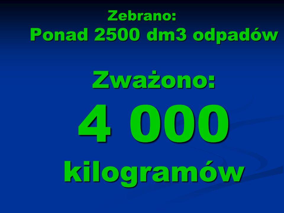 Zebrano: Ponad 2500 dm3 odpadów Zważono: 4 000 kilogramów