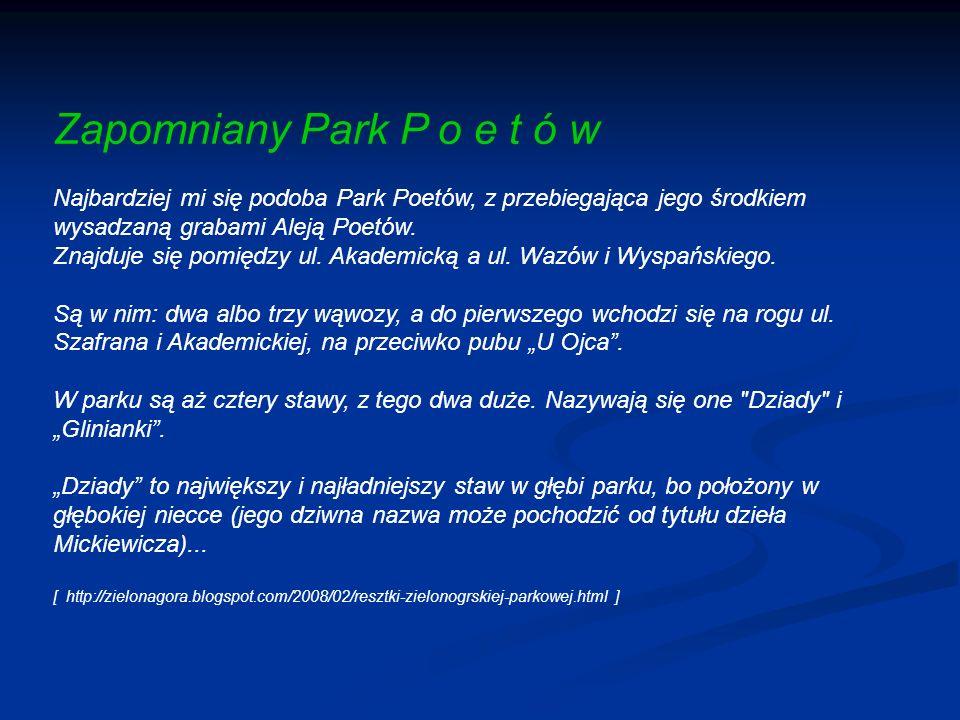 Zapomniany Park P o e t ó w Najbardziej mi się podoba Park Poetów, z przebiegająca jego środkiem wysadzaną grabami Aleją Poetów.