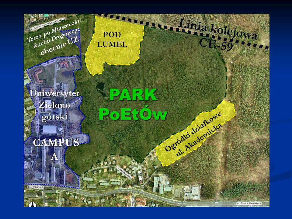 Uniwersytet Zielono górski CAMPUS A Teren po Miasteczku Ruchu Drogowego obecnie UZ Linia kolejowa CE-59 Ogródki działkowe ul.