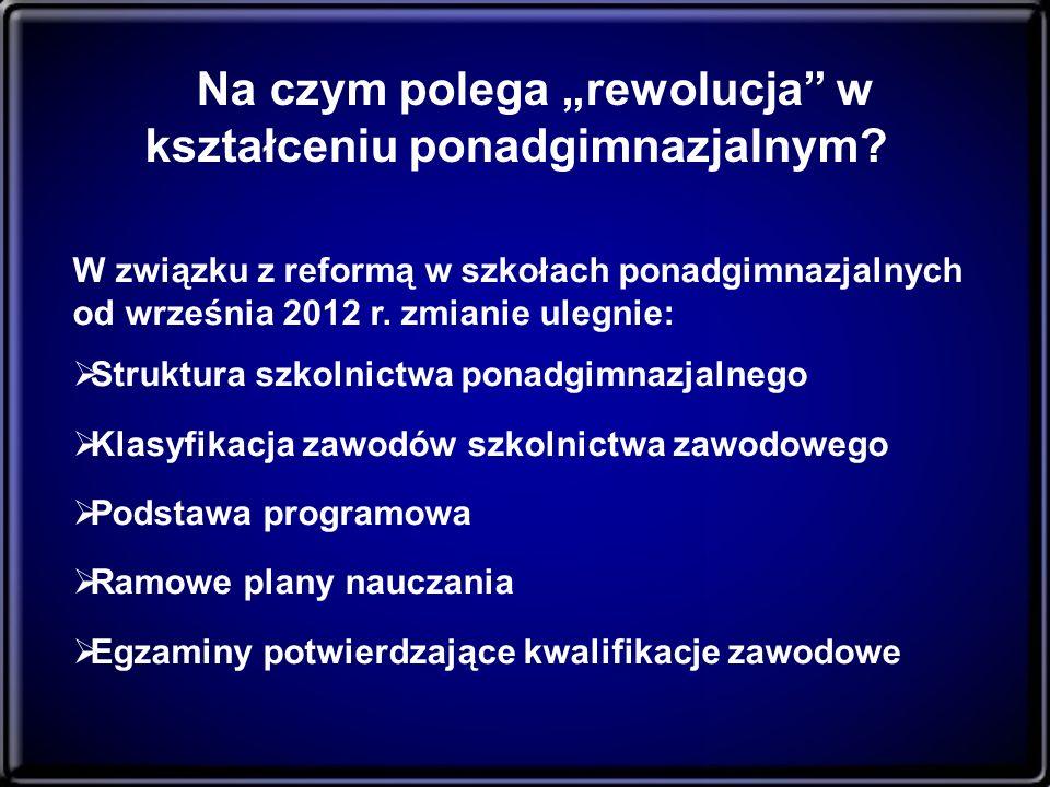 Na czym polega rewolucja w kształceniu ponadgimnazjalnym? W związku z reformą w szkołach ponadgimnazjalnych od września 2012 r. zmianie ulegnie: Struk