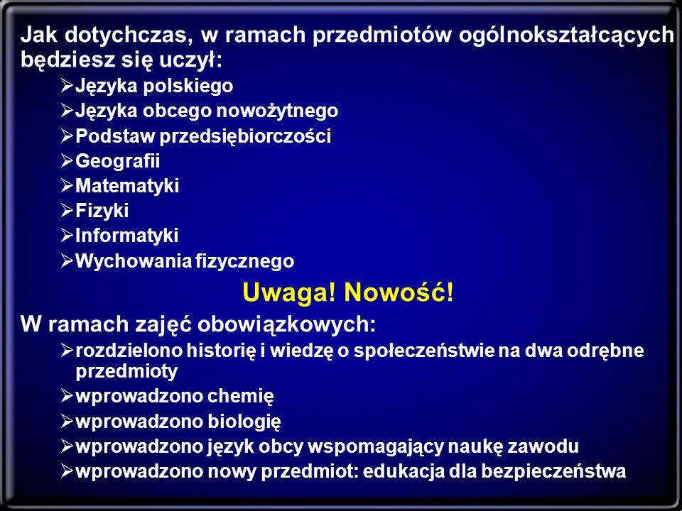 Jak dotychczas, w ramach przedmiotów ogólnokształcących będziesz się uczył: Języka polskiego Języka obcego nowożytnego Podstaw przedsiębiorczości Geog
