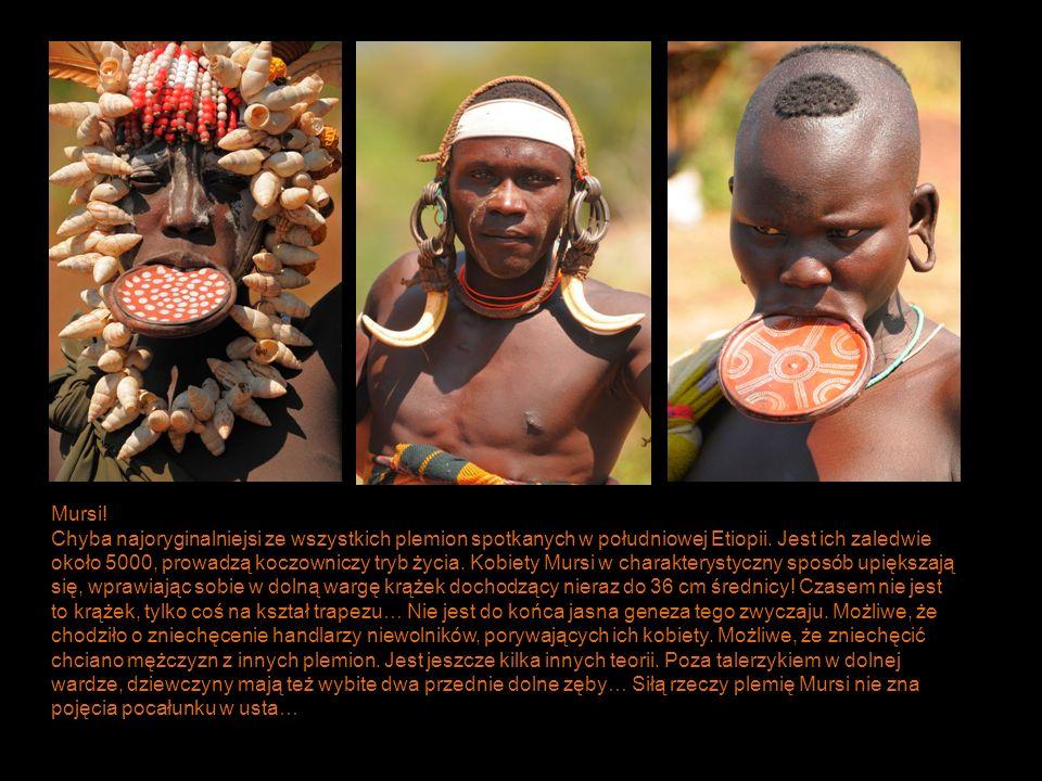 Mursi! Chyba najoryginalniejsi ze wszystkich plemion spotkanych w południowej Etiopii. Jest ich zaledwie około 5000, prowadzą koczowniczy tryb życia.