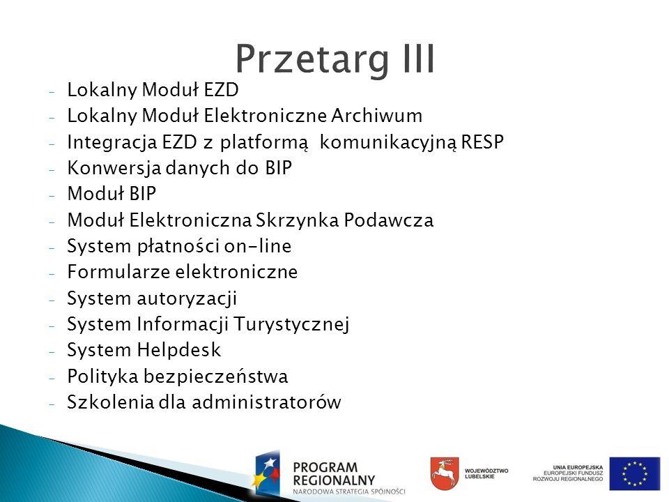 - Lokalny Moduł EZD - Lokalny Moduł Elektroniczne Archiwum - Integracja EZD z platformą komunikacyjną RESP - Konwersja danych do BIP - Moduł BIP - Mod