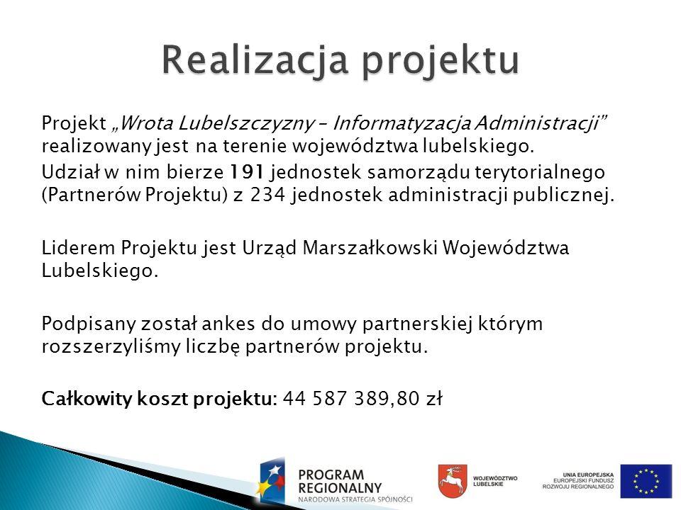 Projekt Wrota Lubelszczyzny – Informatyzacja Administracji realizowany jest na terenie województwa lubelskiego. Udział w nim bierze 191 jednostek samo