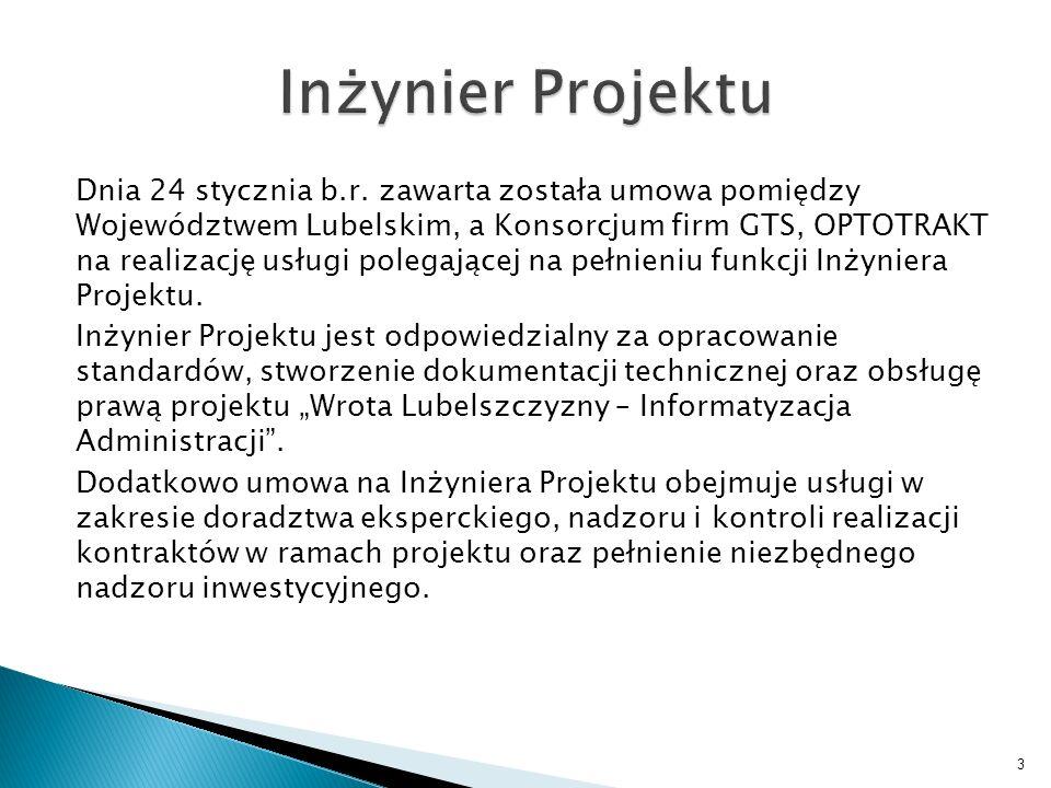 I IIIIIIV lp.zadanie 1Biuro projektu 2Inżynier projektu 3Promocja projektu 4Studium Wykonalności 5Dostosowanie pomieszczeń serwerowni 6 Zakup sprzętu dla części wspólnej (serwerownia centralna oraz zastępcza) 7Szkolenia dla administratorów 8Komunikacja regionalna ESP 9Stworzenie Regionalnego Biuletynu Informacji Publicznej 10System płatności on-line 11System pomocy Helpdesk 12Edytor formularzy + RRWD 13Centrum Autoryzacji 14System Informacji Turystycznej 15Testy akceptacyjne 16 Punkty publicznego dostępu do internetu typu HotSpot 17Sprzęt i oprogramowanie + integracja i konwersja danych 18Rozbudowa sieci LAN 19Polityka Bezpieczeństwa Informacji