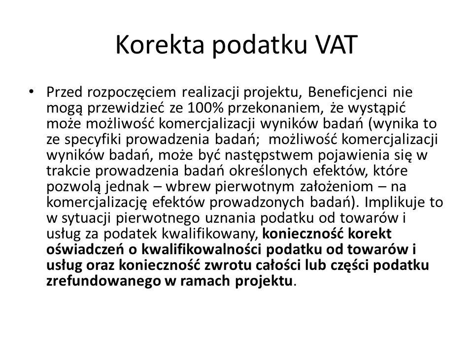 Korekta podatku VAT Przed rozpoczęciem realizacji projektu, Beneficjenci nie mogą przewidzieć ze 100% przekonaniem, że wystąpić może możliwość komercj