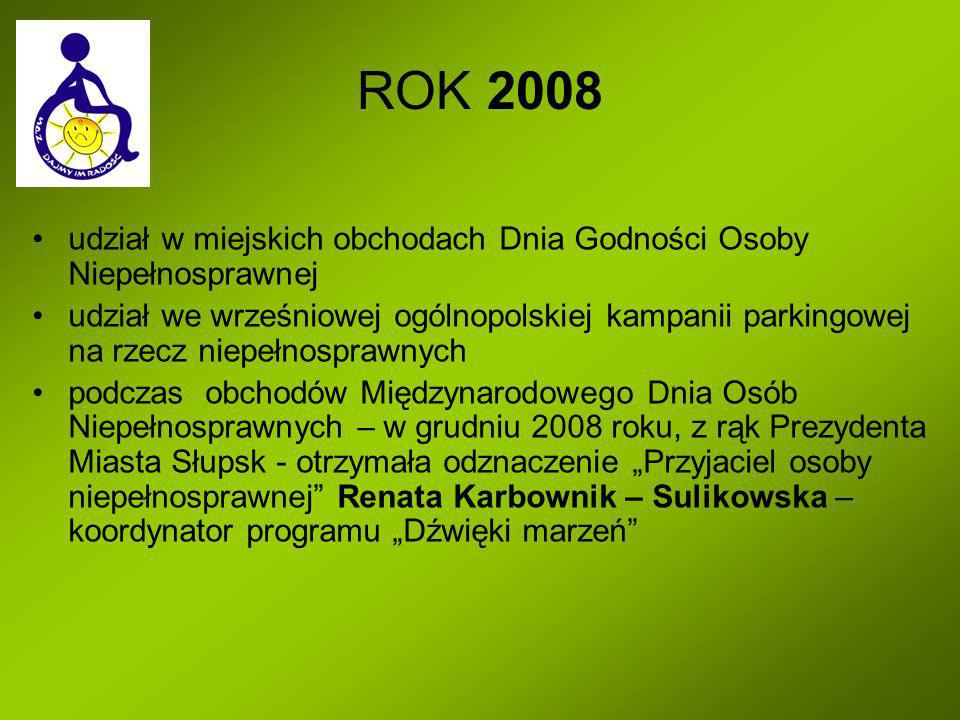 ROK 2008 udział w miejskich obchodach Dnia Godności Osoby Niepełnosprawnej udział we wrześniowej ogólnopolskiej kampanii parkingowej na rzecz niepełno