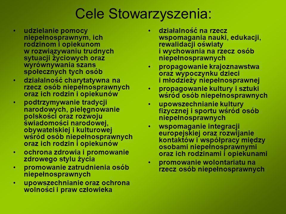 Cele Stowarzyszenia: udzielanie pomocy niepełnosprawnym, ich rodzinom i opiekunom w rozwiązywaniu trudnych sytuacji życiowych oraz wyrównywania szans społecznych tych osób działalność charytatywna na rzecz osób niepełnosprawnych oraz ich rodzin i opiekunów podtrzymywanie tradycji narodowych, pielęgnowanie polskości oraz rozwoju świadomości narodowej, obywatelskiej i kulturowej wśród osób niepełnosprawnych oraz ich rodzin i opiekunów ochrona zdrowia i promowanie zdrowego stylu życia promowanie zatrudnienia osób niepełnosprawnych upowszechnianie oraz ochrona wolności i praw człowieka działalność na rzecz wspomagania nauki, edukacji, rewalidacji oświaty i wychowania na rzecz osób niepełnosprawnych propagowanie krajoznawstwa oraz wypoczynku dzieci i młodzieży niepełnosprawnej propagowanie kultury i sztuki wśród osób niepełnosprawnych upowszechnianie kultury fizycznej i sportu wśród osób niepełnosprawnych wspomaganie integracji europejskiej oraz rozwijanie kontaktów i współpracy między osobami niepełnosprawnymi oraz ich rodzinami i opiekunami promowanie wolontariatu na rzecz osób niepełnosprawnych