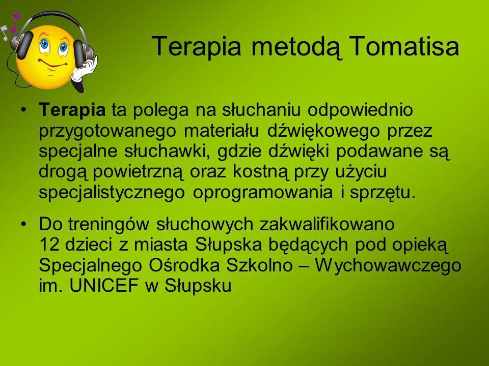 Terapia metodą Tomatisa Terapia ta polega na słuchaniu odpowiednio przygotowanego materiału dźwiękowego przez specjalne słuchawki, gdzie dźwięki podawane są drogą powietrzną oraz kostną przy użyciu specjalistycznego oprogramowania i sprzętu.