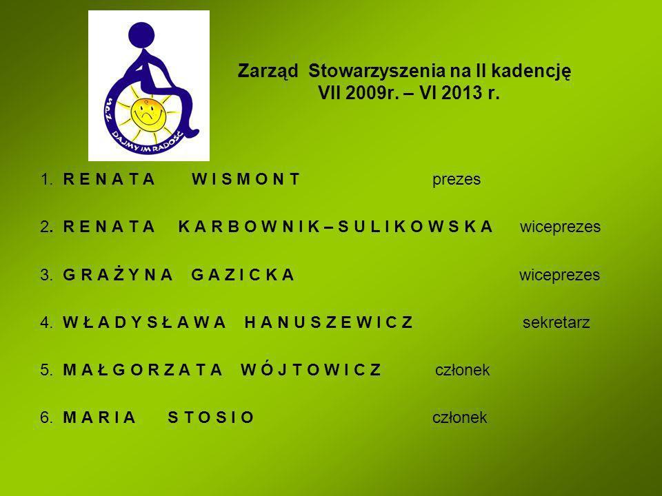 Zarząd Stowarzyszenia na II kadencję VII 2009r. – VI 2013 r. 1. R E N A T A W I S M O N T prezes 2. R E N A T A K A R B O W N I K – S U L I K O W S K