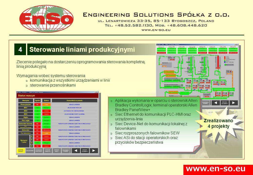 www.en-so.eu Sterowanie liniami produkcyjnymi4 Zlecenie polegało na dostarczeniu oprogramowania sterowania kompletną linią produkcyjną Wymagania wobec